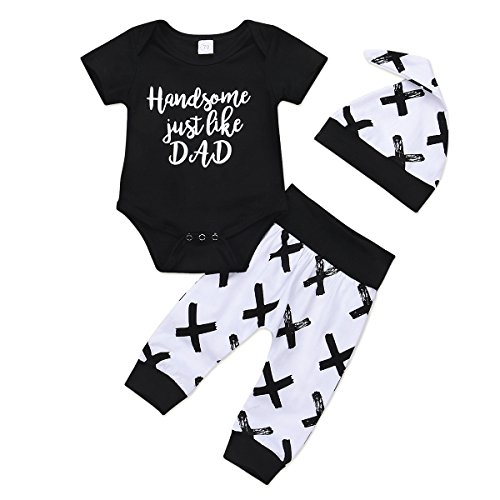 Handsome Just Like DAD Print Romper + Pants + Hat Baby Boy Outfits Clothes Set (0-6M) ()