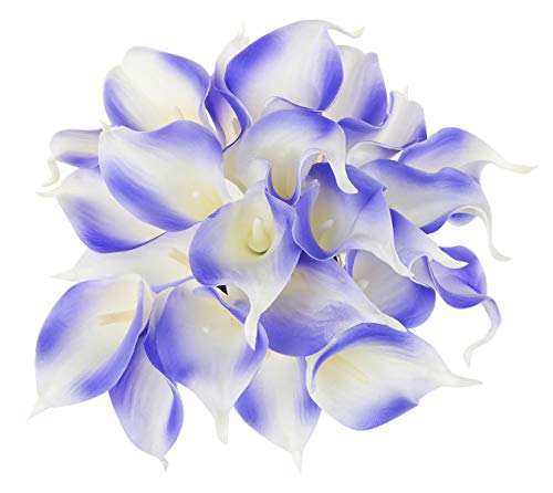 (EZFLOWERY 10 Artificial Calla Lily Flowers Real Touch Latex Arrangement Bouquet Wedding Centerpiece Room Office Party Home Decor, Excellent Gift Idea (Small - 10 Pack, Blue)