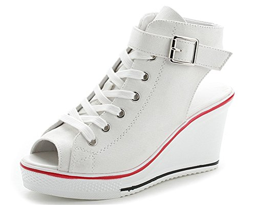 (Women Wedge Sandals Peep Toe High Heeled Wide Width Slingback Summer Canvas Sneakers (US 9.5, White))