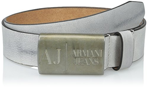 Armani Jeans Men's E1 Leather Belt with Logo Buckle, Gray, 36 (Armani Jeans Leather Belt)