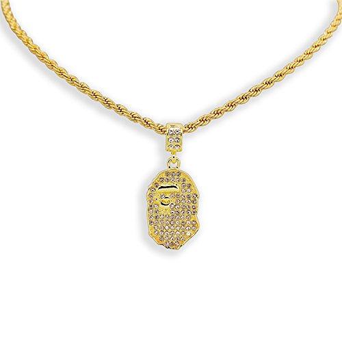 Yellow Gold-Tone Iced Out Hip Hop Bling Bape Ape Pendant with 24