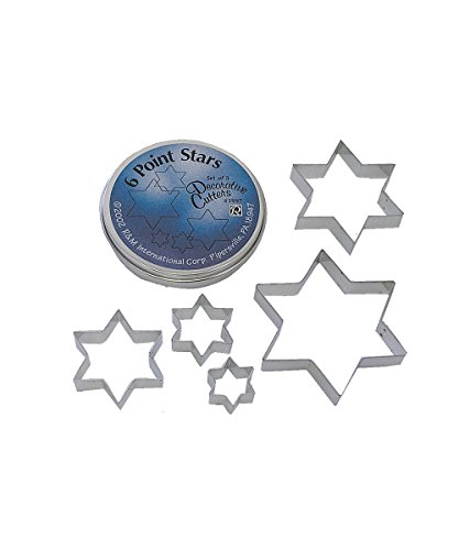 Star Dough Cutter (R&M International 1997 Star of David Cookie Cutters, Assorted Sizes, 5-Piece Set in Gift Tin)