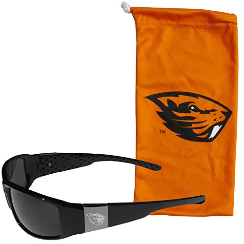 NCAA Oregon State Beavers Etched Chrome Wrap Sunglasses and Bag, Adult Size, Black