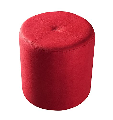 Kings Brand Furniture Round Ottoman Stool (Red Microfiber)