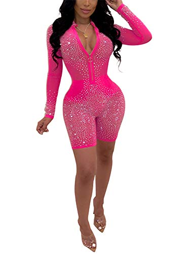 (Adogirl Sexy Sequin Rhinestone Romper Jumpsuit Party Outfits for Women Clubwear Bodysuit Pink)