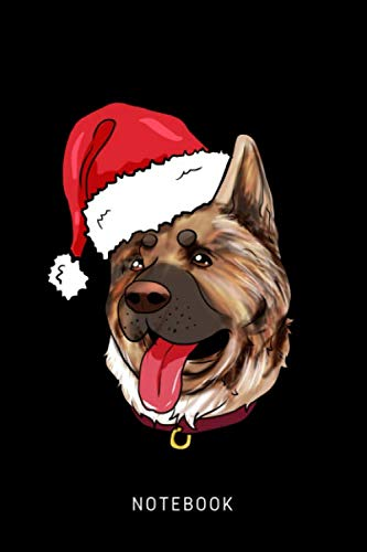 Notebook: Happy Akita Dog Wearing A Christmas Hat