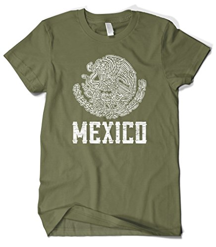 Cybertela Men's Mexico Coat of Arms T-Shirt (Olive Green, -