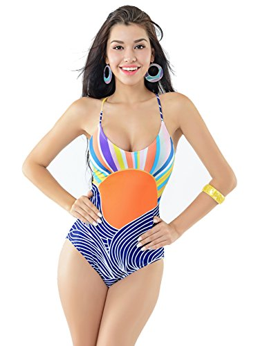 GoLoveY Women's Fashion Tribal Lace Up Removable Padded One Piece Swimsuits