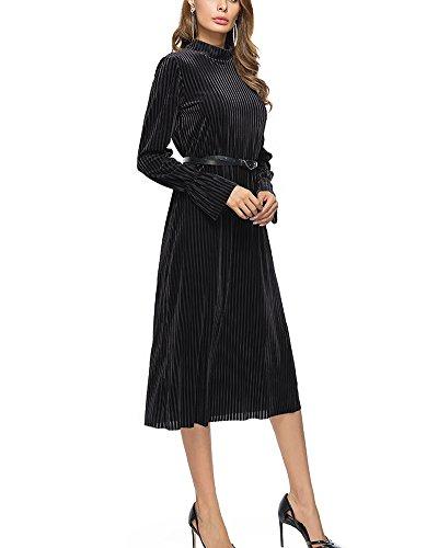 Larga Elegantes Negro Bodas de Vestido Vestidos de Mujer Ropa Fiesta para Mangas Fiesta Largas de x6qnwFwIH