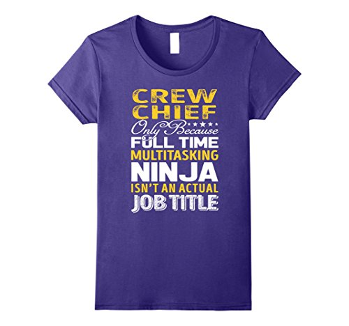 Crew Chief Costume (Womens Crew Chief Is Not An Actual Job Title TShirt Large Purple)