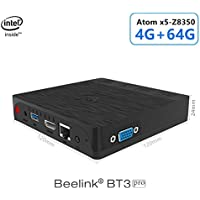 Beelink BT3 Pro Mini PC, Intel Atom x5-Z8350 Processor (2M Cache, up to 1.92 GHz) 4GB/64GB 1000Mbps LAN 2.4/5.8G Dual Band WiFi BT 4.0 Dual Screen Display with HDMI and VGA Ports Support Windows 10