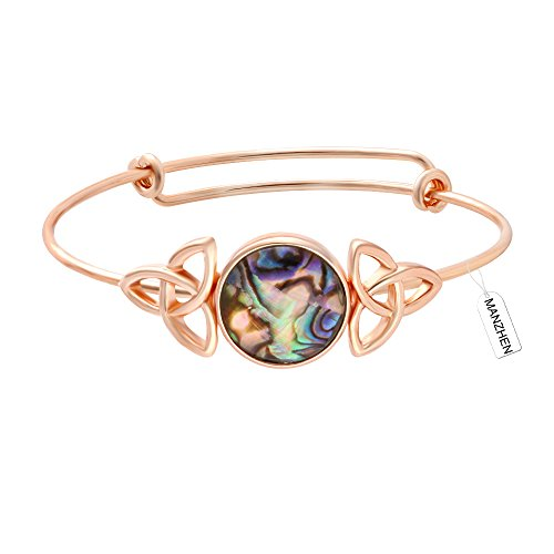 Shell Celtic Knot - MANZHEN Expandable Adjustable Transparent Abalone Shell Triple Celtic Knot Bangle Bracelets for Women (rose gold)