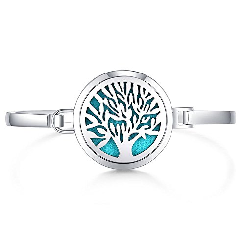 Mesinya New 30mm Tree of Life Aromatherapy /316L s.Steel Essential Oils Diffuser Locket Bracelet Bangle 7'' Wrist