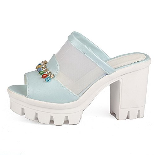 AllhqFashion Damen Offener Zehe Hoher Absatz Rein Ziehen auf Sandalen mit Hohem Absatz Blau