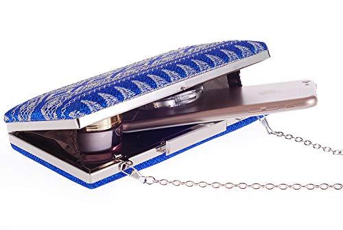 de champn Azul Small Mujer Cool pequeo diseo Mano FUBULE Cuadrado para Bolso tamao qTwECA