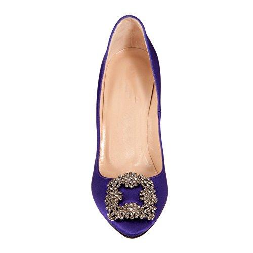 Arc-en-Ciel los zapatos de las mujeres de las bombas de tacón alto del dedo del pie redondo púrpura