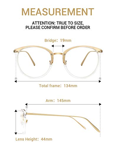 a2e55d1c51c TIJN Vintage Round Metal Optical Eyewear Non-prescription Eyeglasses Frame  for Women