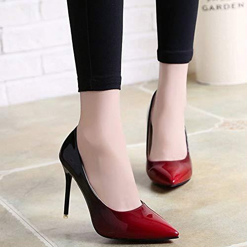 de básicos Bomba Estrecha de Tacones de Verano Zapatos Punta de Tacón Gray ZHZNVX Rojo Mujer Aguja Poliuretano PU Gris Sz8nSqHZ