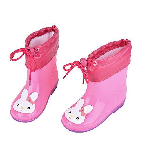 Per Raincoat&Rain Boots Set Reusable Raincoat Hood Sleeve Galoshes(pink rain boots,S)