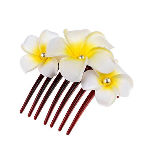 Love Sweety Hawaiian Plumeria Pearl Hair Clips Flower Barrettes For Beach Party (Comb White) (Plumeria Hair Comb)