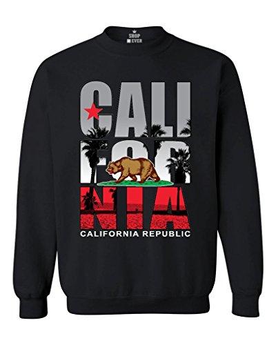 California Republic Beach Palm Tree Crewneck California Sweatshirts Large Black