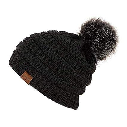 837635ba0 Amazon.com: A&O Kids Pompom Trendy Hats Kids Knitted Fur Poms Beanie ...