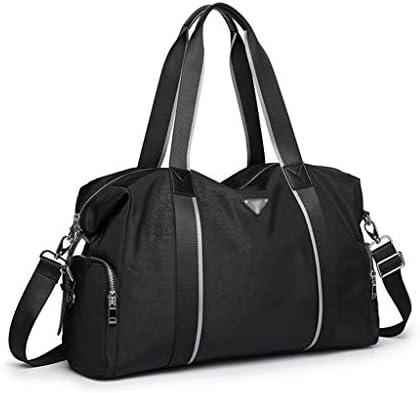 トラベルダッフルバッグメンズポータブル大容量短距離旅行ビジネス服バッグナイロン布素材はブラック、グレー、ソフトで快適です HMMSP (Color : Black)