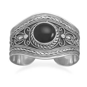 Oxidized Joli Bracelet manchette en argent Sterling avec Onyx noir central de 20 mm-JewelryWeb