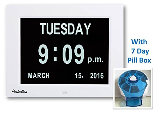 Memory Loss Digital Day Clock Calendar for Seniors and Dementia Sufferers-Large Display for Wall or Bench-Silent-Dims at Night -Shows Day Time and Date-8 Languages-8 inch