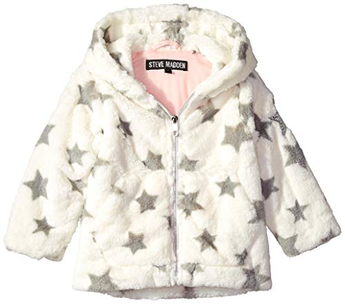 (Steve Madden Girls' Toddler Fashion Faux Fur Jacket with Printed Stars, Cream/Grey 2T)
