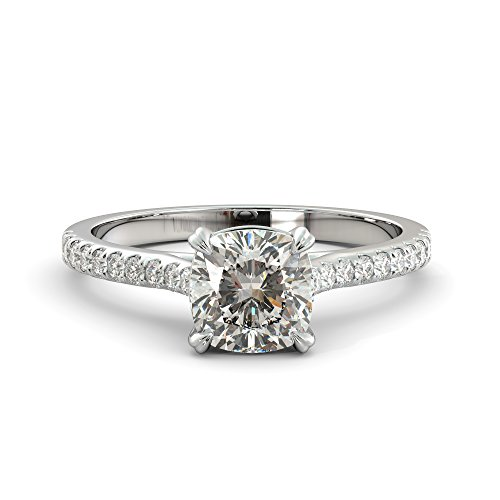 (1.73 ct Cushion Cut Charles & Colvard Forever One Moissanite & Round Cut Natural Diamond Engagement Ring Pave Solitaire 14k White Rose Yellow Gold)