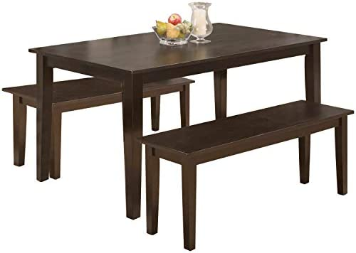 Amazon Com Dining Table Set Dining Table Kitchen Table And Bench For 4 Dining Room Table Set For Small Spaces Table With Chairs Home Furniture Rectangular Modern Table Chair Sets