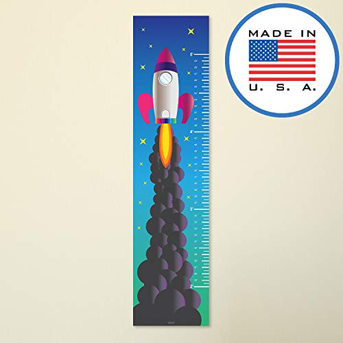 321Done Growth Chart Rocket Ship Pink Purple, Girls Hanging Height Ruler Vinyl Banner, Rocketship Outer Space Nursery Wall Decor - Made in USA