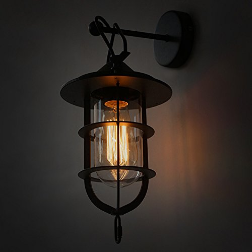 Creative Loft Retro Industrial Style Iron Small Iron Cage Wall Lamp American Village Living Room Bed Bedside Decorative Wall Light 36cm 19cm by CHUANGCHUANG