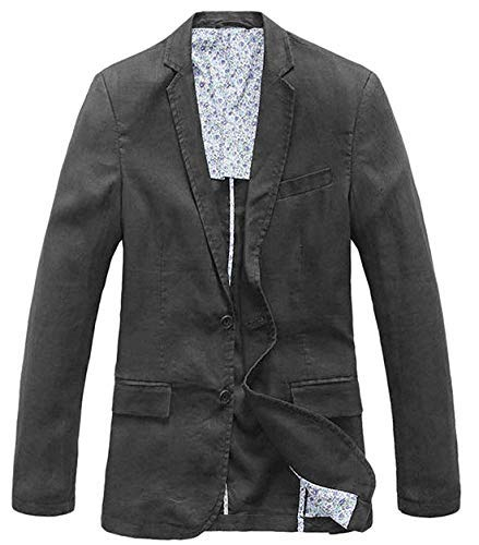 chouyatou Men's Lightweight Half Lined Two-Button Suit Blazer (X-Large, Dark Grey) Cotton Notched Collar Coat