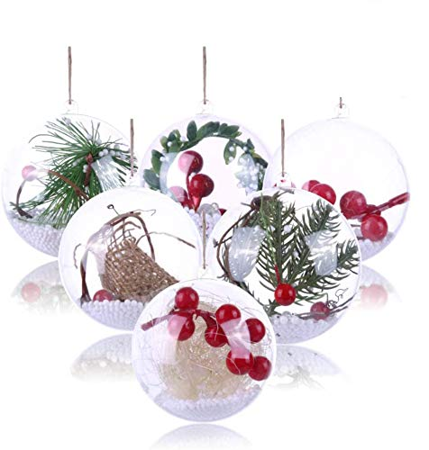 Koogel 20 Pcs 3Inch Clear Ornaments Balls, DIY Ornament Ball Transparent Ball Baubles Craft Transparent Ball Gifts for Wedding Party Decor