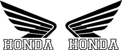 HONDA motorcycle wing Sticker vinyl decal LEFT and RIGHT | honda motorcycle decals (Black)
