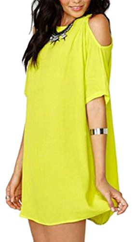 Women's Shoulder Dress Jaycargogo Short Mini Sleeve Cold Beach Yellow Chiffon Summer dpXqX1g