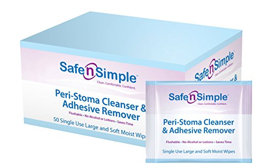 Ostomy Cleanser - Safe n' Simple Peri-Stoma Cleanser and Adhesive Remover, Individually Wrapped, 50 Count