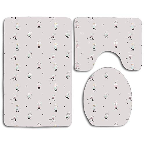 YGUII Cute Bunny Girls on Swing Hula Hoop Scooter Ballerina Teen Stylish Artsy Thicken Skidproof Toilet Seat U Shaped Cover Bath Mat Lid Cover