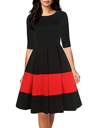 oxiuly Women's Vintage Half Sleeve O-Neck Contrast Casual Pockets Party Swing Dress OX253 (M, Black)