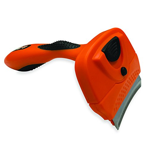 GoPets Deshedding Tool with Self Cleaning Curved Comb, Sturdy and Ergonomic Handle, 3-Inch Blade