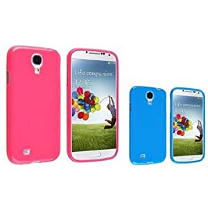 Bloutina Everydaysource Compatible with Samsung Galaxy S IV S4 i9500 Pink + Blue Jelly Rubber TPU Skin Gel Case Cover
