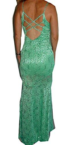 tiefer Spitze Modell Ausschnitt Schnitt Strech Ruecken lang Spaghetti AF3997 Traeger Abendkleid aus türkis AF3997 schmaler wqS7xz0t0