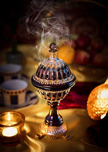 AM Charcoal Frankincense Incense Bakhoor Resin - Luxury Burner Globe
