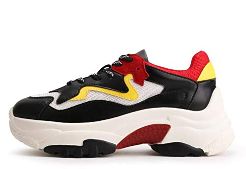 Pelle Clunky Sneakers Nubuck Sports New In 2018 Shiney Scarpe Casual Red Women's Autunno Vera xwgX744qS