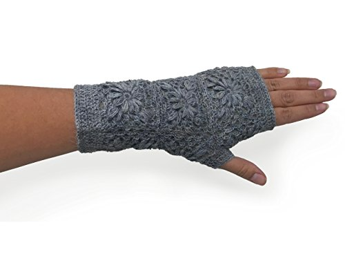 Handmade Alpaca Texting Mittens - Crocheted Floral Design Gloves (Ice-Ice Baby)