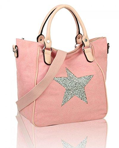 For 30 41 Large 5 Shopper Bag Shoulder Cm Pale Light Weight Diamante Canvas Bag X 18 Women's W Star Soft Women X Bags LeahWard Handbags Pink D H fnHqPwxg