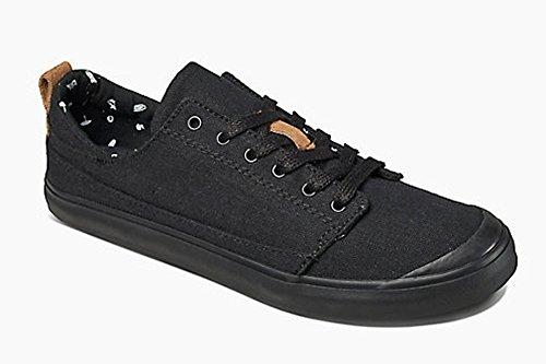 Reef Women's Walled Low Fashion Sneaker, Black/Black, 7 M US
