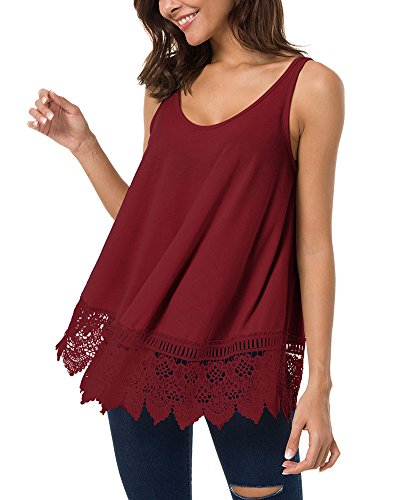 LEANI Women's Summer Sleeveless Scoop Neck Tunic Top Lace Patchwork Casual A-Line Tank T-Shirt Red ()